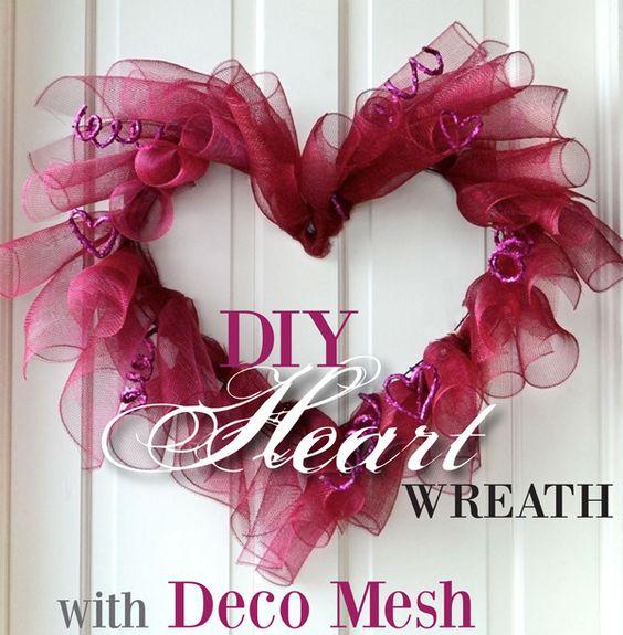 Celebrate Valentine's day: Wreaths Valentines, Valentines Deco Mesh Wreath, Crafts Wreaths, Deco Mesh Heart Wreath Diy, Deco Mesh Wreaths, Holiday Valentine, Valentine Wreath, Valentines Wreath Diy