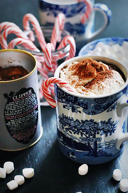 hot chocolate & peppermint sticks. You can just crush up the candy cane and sprinkle it on top of the whip cream too.