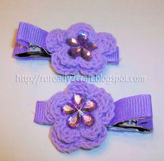 Crochet Embellished Hair Ties : DIY embellished Crochet Hair Clip Crochet hair accessories ...