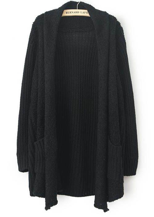 Black Long Sleeve Pockets Loose Cardigan Sweater - Sheinside.com ...