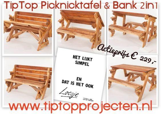 Opvouwbare picknicktafel  u0026 bank 2in1    in 3 seconden van tuinbank naar tafel  Een inklapbare