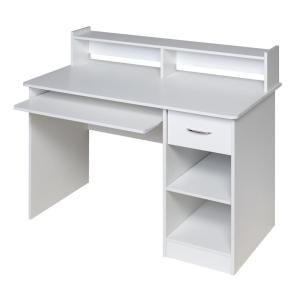 Onespace 44 In Rectangular White 1 Drawer Computer Desk With Keyboard Tray 50 Ld0101 The Home Depot White Computer Desk Desk With Drawers Computer Desk In Bedroom