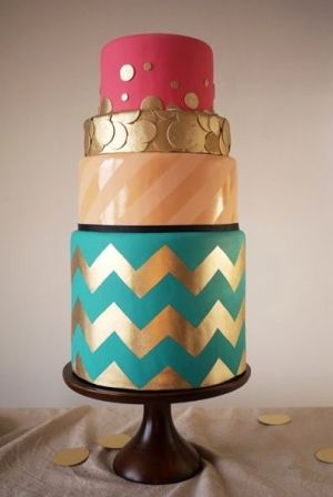 Cool chevron wedding cake by Charm City Cakes by That Long Hair Girl
