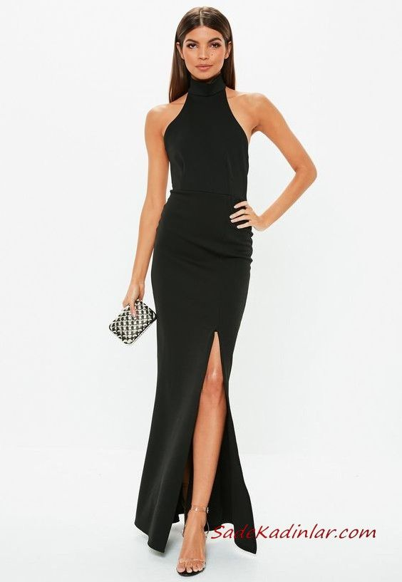 2019 Uzun Gece Elbiseleri Siyah Uzun Halter Yaka Onden Yirtmacli Maksi Elbiseler The Dress Elbise