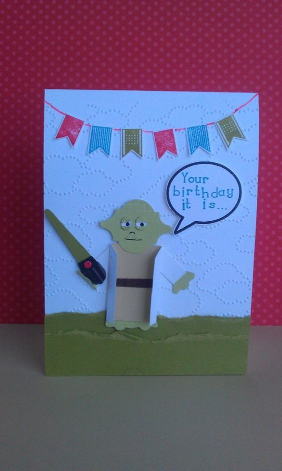 """Stampin' Up Punch Art Yoda. Yoda Birthday Card. Star Wars. Light Saber. """"Your birthday it is... celebrate you must."""""""