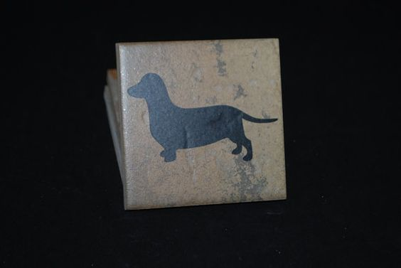 Set of 4 Dachshund Ceramic Coasters. $5.00, via Etsy. Other breeds available!