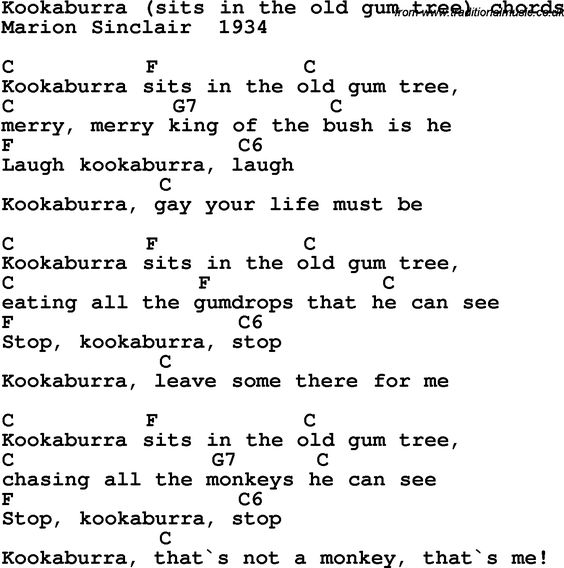 Song Lyrics With Guitar Chords For Kookaburra