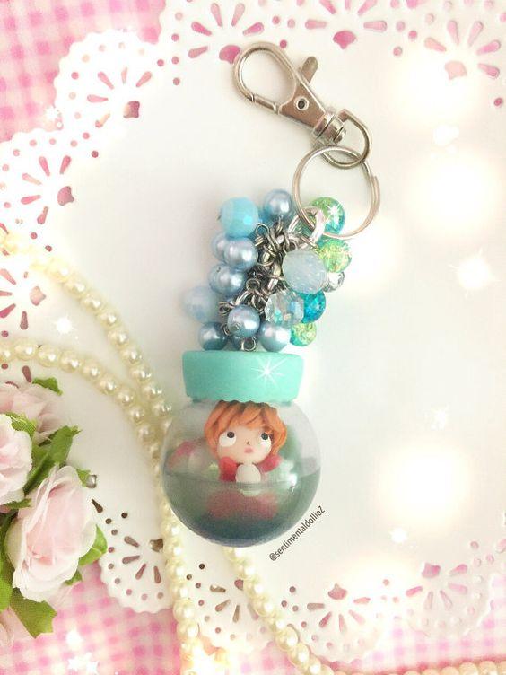Mini Snowglobe - Ponyo à la chaîne de sac mer - porte-clef - lire à expédier: