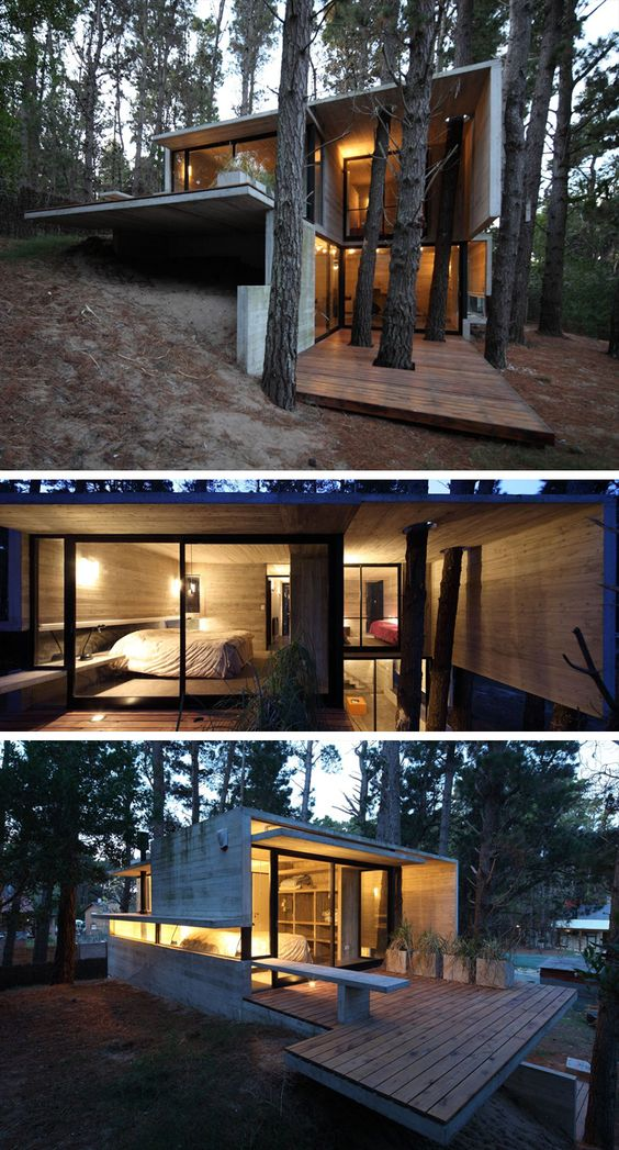 """""""Franz House"""": Situated in the forest above Mar Azul in Villa Gesell, Argentina, this small (2 bedroom 1 bath) summer home takes advantage of the site's steep slope with a split-level configuration. The home was sited in the midst of large pines, incorporating several of them at the entry. While the linear lines of the concrete suggest Brutalist influences, the trees help  create harmony with the natural setting.   Design: BAK Arquitectos (2010)"""