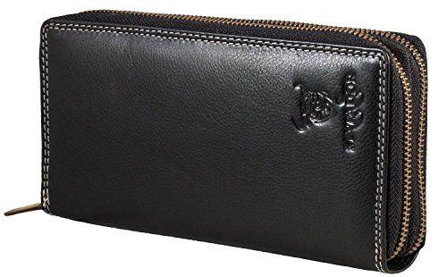 Geldbörse Portemonnaie Damen Börse PU-Leder Geldbeutel Geldtasche schwarz