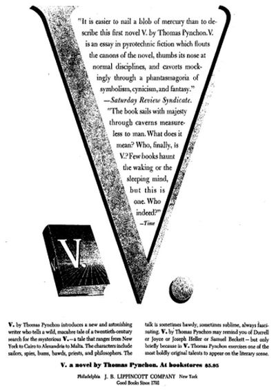 Thomas Pynchon old publishing ad. V.