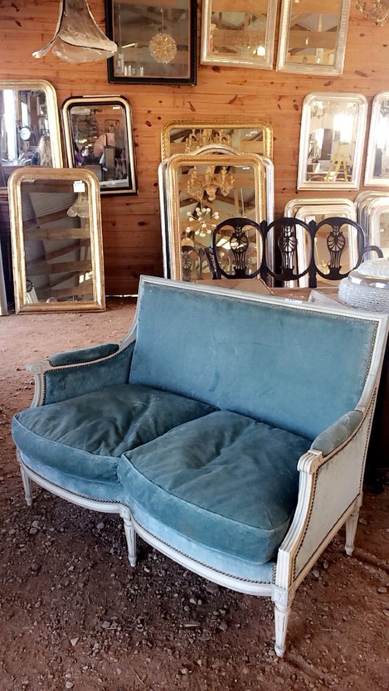 A velvet settee at Round Top Antiques Week. Anna Dean