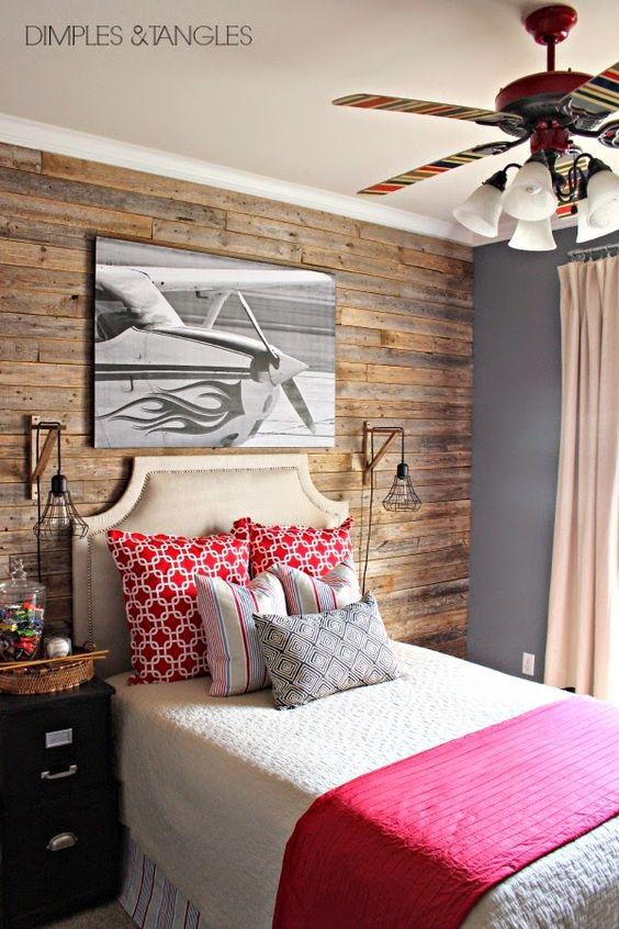 Teen boy 39 s bedroom reveal weathered fence plank wall - Teen room wall decor ...