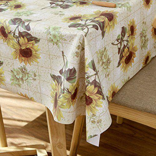 Diliba Sunflower Vinyl Oilcloth Tablecloth Rectangle Wipeable Oil Proof Waterproof Pvc Heavy Duty Long Fa Farmhouse Tablecloths Table Cloth Oilcloth Tablecloth