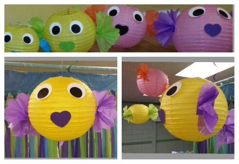 Paper lantern fish for a under the sea party my cricut for Fish paper lanterns