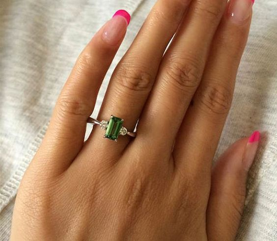 Engagement Ring 1.2 Carat Green Tourmaline by stevejewelry
