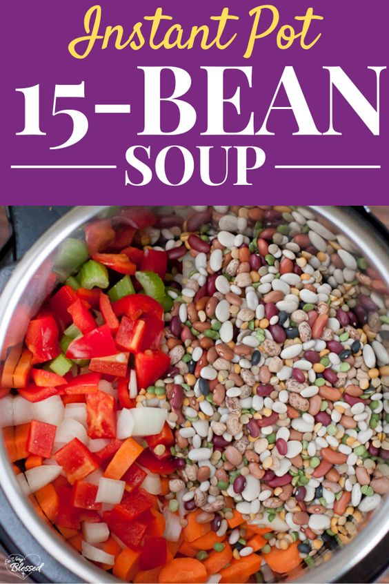 This healthy Instant Pot 15 Bean Soup Recipe is a meatless one-pot meal that cooks dried beans right in your Instant Pot with the soup. #meatlessMonday #healthyInstantPot