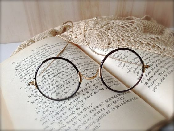 Vintage Round Eye Glasses with Case  Spectacles  by MissionJewels, $50.00