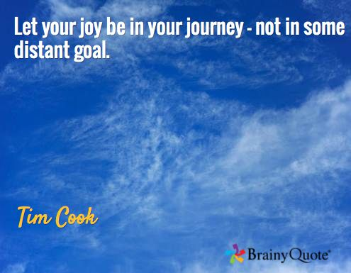 Let your joy be in your journey - not in some distant goal. / Tim Cook