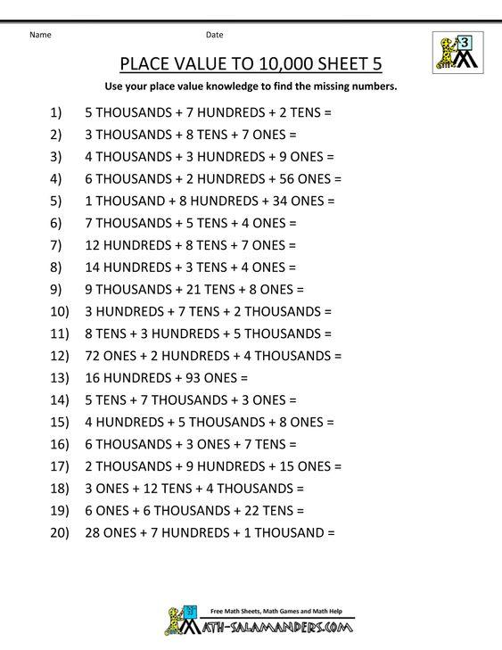 Place Value Worksheets : place value worksheets to 10 000 Place ...
