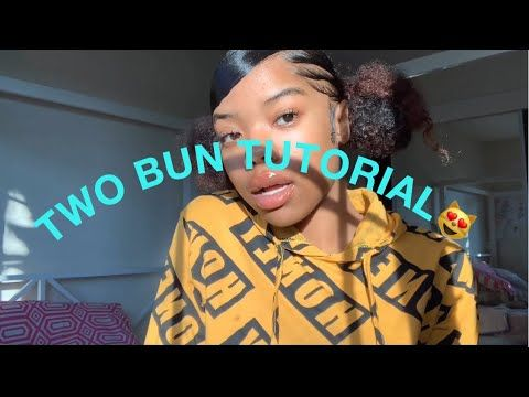 How To Two Puffs Space Buns On Natural Hair With Zig Zag Part Edges Hairstyles Lara Blog In 2020 Natural Hair Bun Styles Natural Hair Styles Two Buns