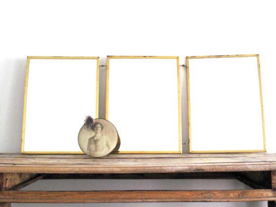 Vintage Triptych Mirror Gold Framed Trifold Mirror Vanity Tri Fold Mirror Decorative Bathroom