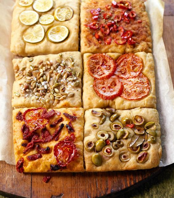 No-Knead Focaccia Tiles - This fancy bread only looks tricky. The recipe starts with an easy dough you stretch into shape by hand then dress with colorful toppers; briny olives, olive-packed tomatoes, zesty citrus, and roasted pumpkin seeds.