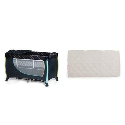 Black//Red Foam Mattress iSafe Rest /& Play Luxury Travel Cot//Playpen