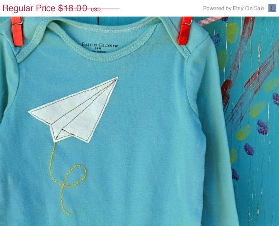 Baby Onesie Paper Airplane Applique Handdyed Teal by JaneandJoshua, $14.40
