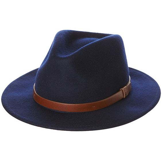 Mens Brixton Messer Fedora Hat Blue Wool ($76) ❤ liked on Polyvore featuring men's fashion, men's accessories, men's hats, accessories, blue, fedora hats, mens hats, mens wool fedora, mens blue fedora hat and mens hats fedora:
