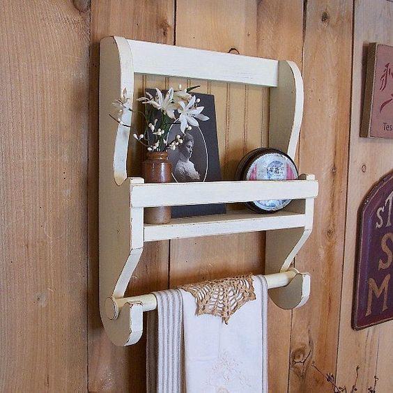 Shabby chic farmhouse towel shelf handmade wooden kitchen wall shelf bathroom storage color for Wooden towel racks for bathrooms