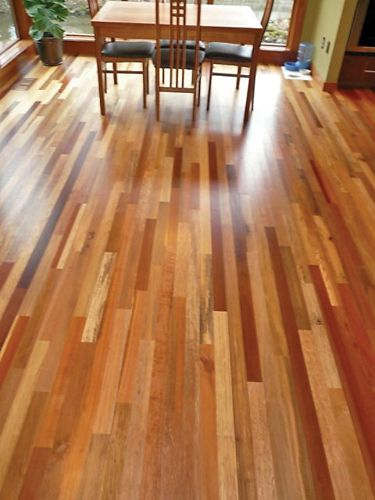 Indonesian Hardwoods.  Really love the color variation.
