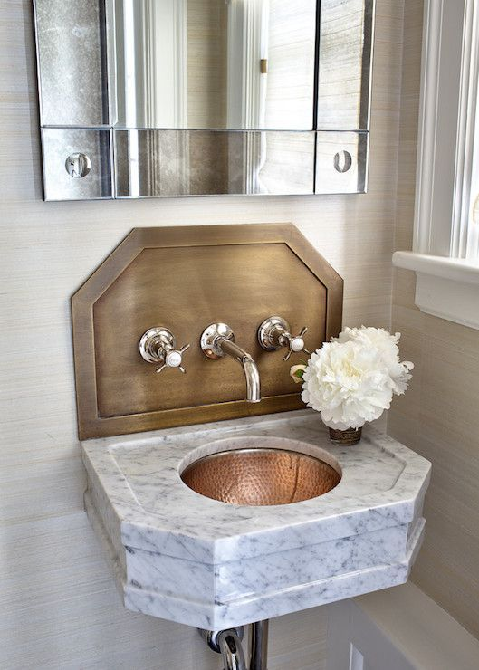 Stunning Powder Room Features Mirror On Beige Grasscloth Over Wall Mounted Marble Vanity With Ha Small Bathroom Sinks Bathroom Sink Wall Mounted Bathroom Sinks