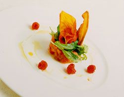 Tomato carpaccio with raspberry and red bell pepper sorbet