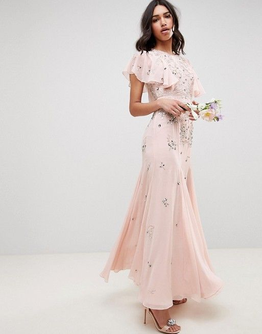 Asos Design Embellished Maxi Dress With Angel Sleeve Bridesmaid Dresses With Sleeves Long Sleeve Bridesmaid Dress Maxi Dress Prom