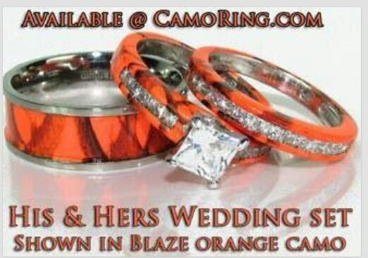 beautiful blaze orange camo wedding set - Camo Wedding Ring Set