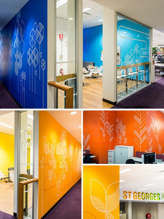 Bold graphics on colorful walls Great idea for teaching