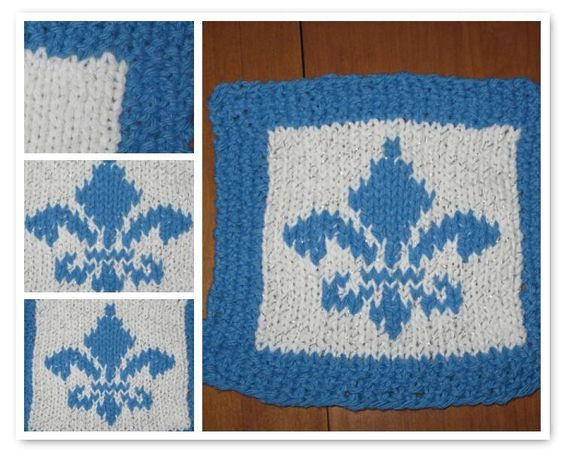 Quebec fleur de lys dishcloth maison tricot et crochet et d coration int rieure - Changer de couleur tricot ...