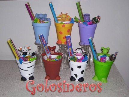Golosinero animales de la selva bolsas golosineras de - Vasos para cumpleanos infantiles ...