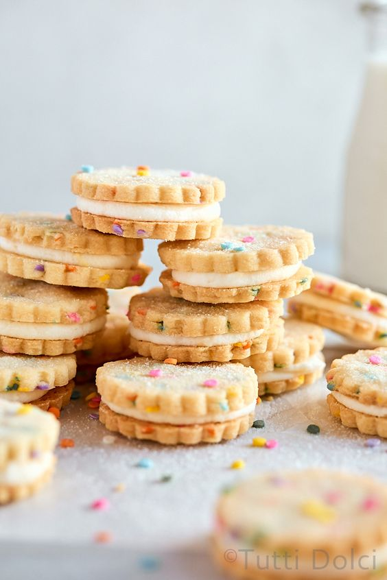 Funfetti Shortbread Sandwich Cookies
