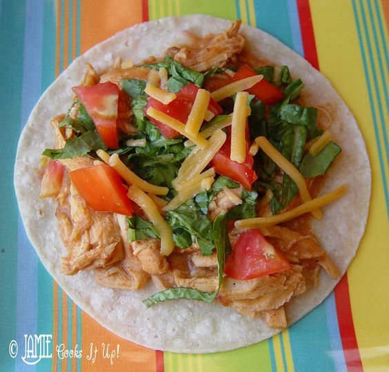 Creamy Chicken Tacos in the Crock Pot -{These were yummy.  I used my homemade cream of chicken soup ~e}