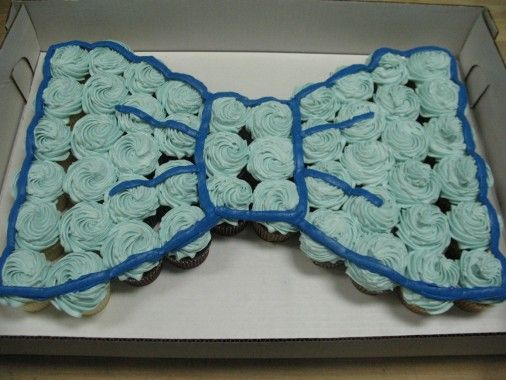 Bow-tie  Cupcake Cake, smooth ice and then do detail work