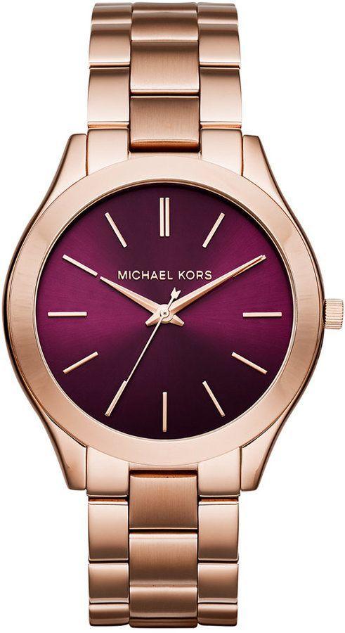Michael Kors Women's Slim Runway Rose Gold-Tone Stainless Steel Bracelet Watch 42mm MK3436, Only at Macy's