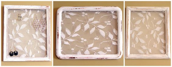 Lacey Elegance earring holder frame using leafy lace by MuchGiven