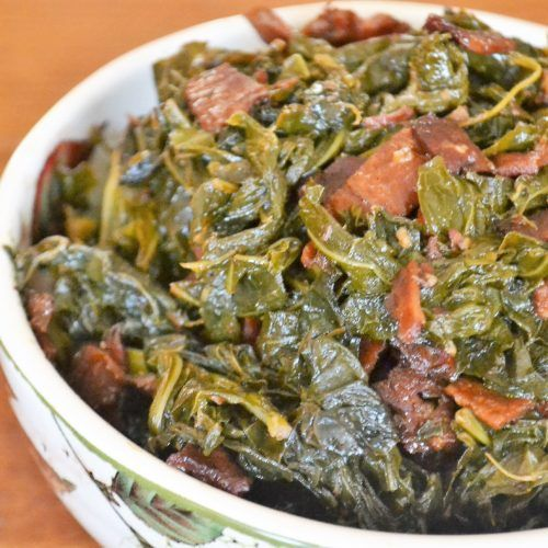 Braised Collard Greens With Turkey Bacon Jersey Girl Cooks Collard Greens Greens Recipe Collard Greens Recipe
