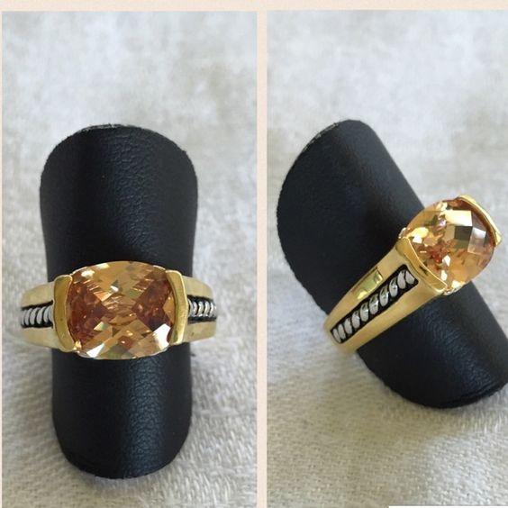 'Elite' gold cubic zirconia ring. Size 7. Gold and antique-silver plated with cubic zirconia stone. Size 7. Never worn. Premier Designs high quality. Premier Designs Jewelry Rings