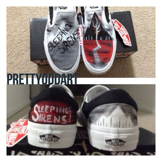 Sleeping with Sirens shoes by PrettyOddArt on Etsy, $50.00