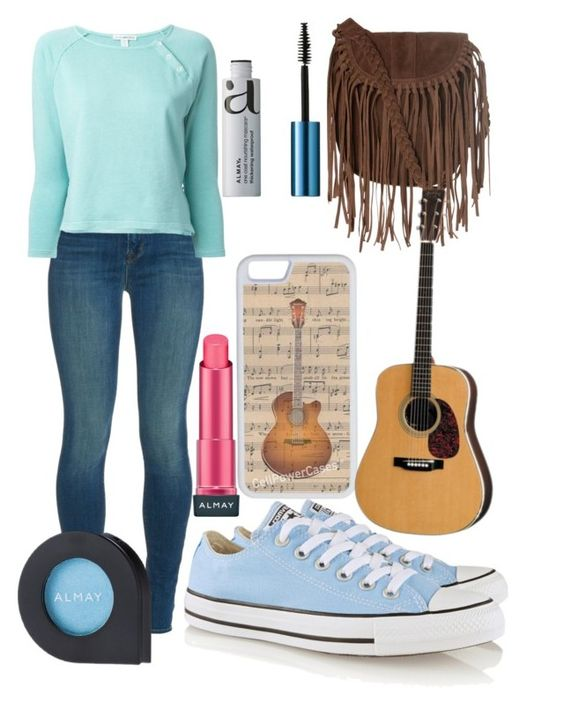 """""""fall day in music city Nashville"""" by tennesseegirl307 ❤ liked on Polyvore featuring moda, J Brand, Glamorous, James Perse, Almay, Converse e CellPowerCases"""