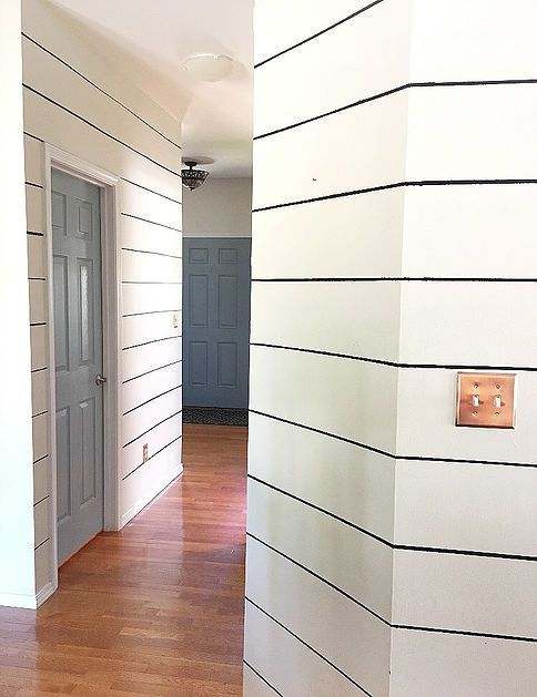 DIY Fake Shiplap with Paint to Make Hallways Look Wider (With ...