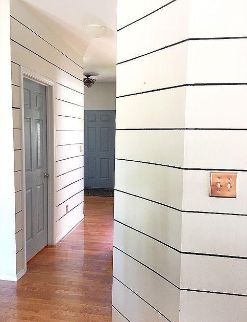 Diy Fake Shiplap With Paint To Make Hallways Look Wider In The House Of David Shiplap Wall Diy Fake Walls Ship Lap Walls